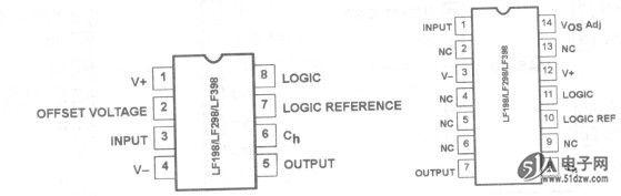 LF198/LF298/LF398是单块集成采样保持电路,其中利用高电压离子场效应晶体管技术获得超高压直流精度与快速采集的信号和低下降速率。LF198/LF298/LF398非常适合各种各样的采样保持的应用,包括数据采集、A/D转换、同步解调和自动测试装置。 1) 工作电压范围为士5~18V; 2) 捕获时间< lOs; 3) TTL、PMOS和CMOS兼容逻辑输入; 4) 保持级在C