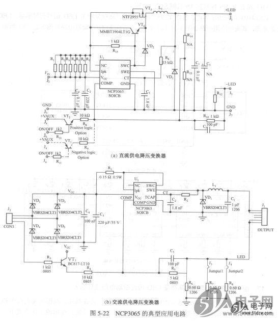 Onsemi公司的NCP3065适合用做电路板空间有限、存在高压、高温环境的汽车和工业场合的LED驱动器。该器件具有峰值电流保护和热关闭功能。在恒流工作方式下,当其发生LED开路故障时也需要保护,不然输出电流会不断地对输出电容充电,使电压不断地上升,此时可用一个外部稳压二极管来钳位输出电压。此外,NCP3065虽然已设计在40V时工作,但在感性负载的汽车应用中,最好再增加一个外部瞬态电压保护电路。 采用NCP3065设计的LED驱动电路可适用于交、直流电源,可配置成不同的电路结构,能提供多种输出电流,其典