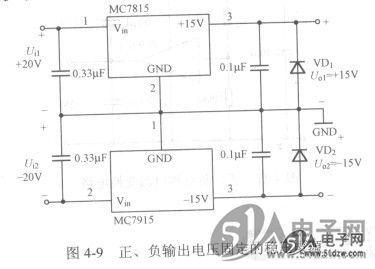 如图4-10所示是由 lm317和 lm337组成的正,负输出电压可调的稳压