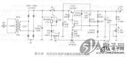 桥式整流堆vd1~vd4,滤波电容器cl