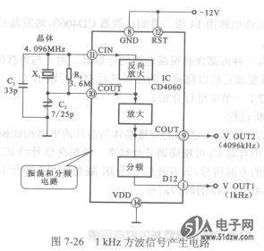 1khz方波信号产生电路(cd4060)