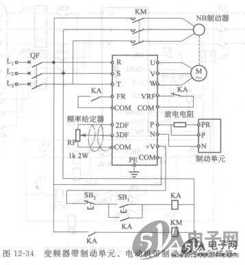 变频器带制动单元,电动机带制动器的运行线路