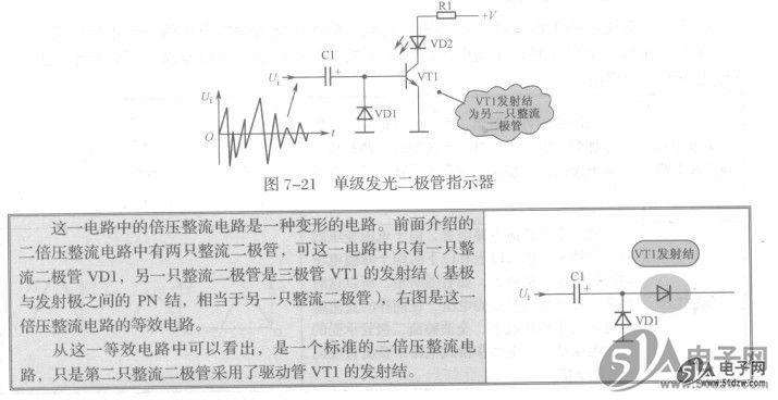 1.电路分析 图7-21所示是单级发光二极管指示器。VD2是发光二极管,VT1是电路中发光二极管VD2的驱动三极管,VD1、Cl和VT1发射结(相当于一个二极管)构成二倍压整流电路。Rl是发光二极管VD2的限流保护电阻。  二倍压整流电路整流输出的直流电压加到了三极管VT1基极, REF195GSZ这是一个正极性的直流电压,这一直流电压作为VT1的直流偏置电压,使VT1导通。注意,VT1无固定的直流偏置电压,只有交流信号经过倍压整流后的直流电压。  通过上述电路分析可知,通过VD2发光亮度的变化,可以指示