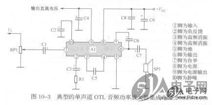 典型的单声道otl集成电路音频功率放大器