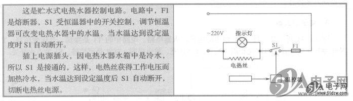电热水器有两种:即热式电热水器和贮水式电热水器。 1.即热式电热水器控制电路 图15-42所示是即热式电热水器的控制电路。HBS050ZH-ANT电路中的Sl是一个受水压控制的微动开关,在用热水时拧开水龙头,Sl便处于接通状态,关掉水龙头Sl便呈断开状态。S2-1、S2-2是继电器的两组常开触点,受继电器控制。S3是水温选择开关。DR1、DR2、DR3分别是三组独立的电热丝,受S3控制。   2.储水式电热水器控制电路