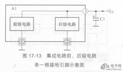 电流的回路为:直流电流从  vcc端 出发,经集成电路al的②脚进入内电路
