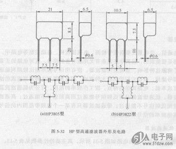 hp型高通滤波器的外形及电路如图5-32