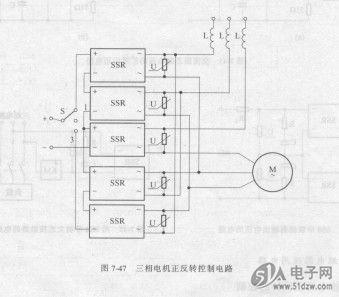 图7-47三相电机正反转控制电路