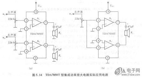 1.实验目的 (1)了解集成功率放X1226SZ大电路的工作原理。 (2)掌握集成功率放大电路的设计方法。 (3)掌握集成功率放大电路的应用。 2.实验电路与说明 TDA7050T型集成功率放大电路实际应用电路 袖珍式放音机、收音机、便携式收录机等,为了实现整机小型化,需要低电压音频功率放大电路。荷兰菲利浦公司生产的TDA7050T集成功率放大电路外形尺寸小,外接元件少,可用来组装薄型收音机和收录机。其接线图如图5.