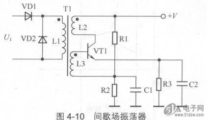 51电子网 技术资料 集成电路      图4-10所示是间歇场振荡器.