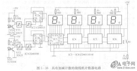 ic2aqi端输出的脉冲上升沿触发ic3的cpu端,使计数电路进行加法计数.