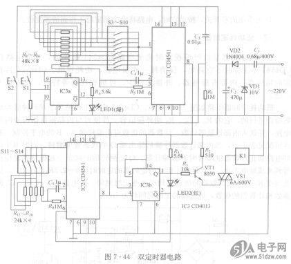 ic3b控制ic2组成的定时电路开始计数定时工