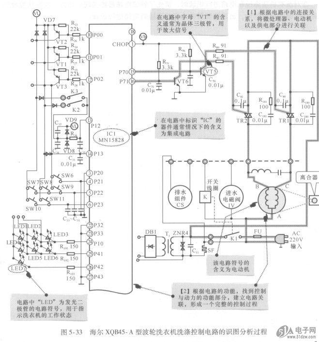 练会洗衣机洗涤控制电路的识图方法