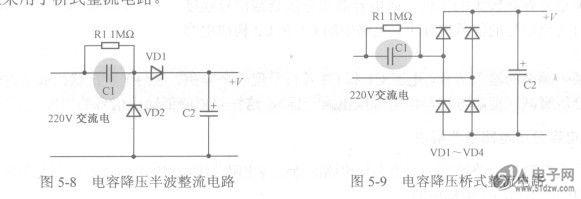 表中所示电流为特定降压电容器容量下的晟大电流值
