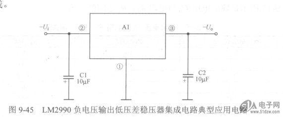 如图9-44所示是采用两块MIC29712低压差稳压器集成电路并联后构成的大电流输出稳压器电路。DS1050-3-002电路中,Al和A2为MIC29712低压差稳压器集成电路,它们接成并联形式。在需要输出大电流时,可以采用这种并联运用的方式。 电路中的单运放A3用来解决线性稳压器并联运行对的均流问题。 图9-44 MIC29712低压差稳压器集成电路并联运用电路  负电压输出低压差稳压器集成电路 低压差稳压器集成电路除了有能够输出正极性直流电压的集成电路外,还有能够输出负极性直流电压的集成电路,如图9-