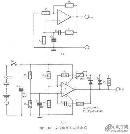 频率可调文氏电桥振荡器电路