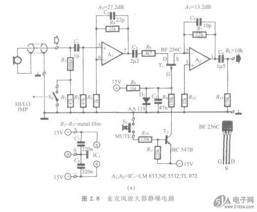 1.用 途 前置放大器静噪电路。 2.原 理 由于麦克风产生的信号很微弱,74HC32D必须通过前置放大器提升,信噪比是前置放大器的重要指标之一。图2.8所示是两种静噪电路。  图2.8(a)所示是非对称形式的电路,S,是静噪开关,S2是高低阻抗选择开关;Ai是交流放大器,增益为27dB,这一级也可以使用直流放大器,这时,省略R3、Cl,R2改为22k;C2是通频带限制电容器,C3是隔直电容器;信号经过Ti送人A2,A2的放大倍数为5,C6、R13组成高通滤波器,输出阻抗大于lok。Sl闭合时Ti截止,信