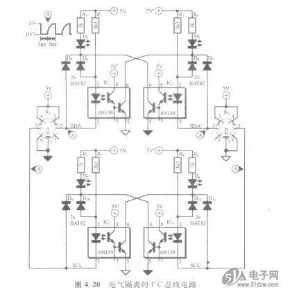 光耦采用6 n139,为高速,超低控制电流型.