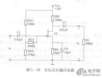 相当于晶体三极管共集电极放大电路,输入信号从漏极与栅极之间输入
