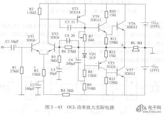OCL功放不用c,性能优异被人喜, 供电采用双电源,差动放大作输入, 交流反馈改线性,直接耦合频响低, 中点电位稳定零,高频电容去自激。 OCL功率放大电路就是没有输出电容器的互补对称电路。NJM2286V它与单电源供电的OTL电路的区别是省去了输出电容器。这样就使得OCL电路在性能上优于OTL电路,在高保真扩音系统中被广泛采用。 OTL电路使用输出电容器的目的并不是为了耦合输出信号,而是为了实现单电源供电。OTL电路使用输出电容器,虽然实现了单电源供电,但耦合电容却影响了放大器通频带的展宽。如果省去输出