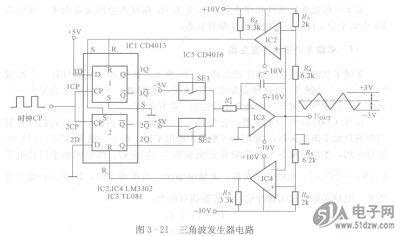 ic3为集成运算放大器,它组成积分电路