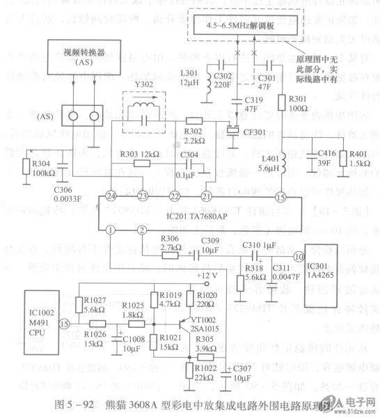 熊猫3608a型彩电中放集成电路外围电路原理图