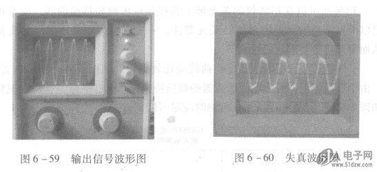用示波器测量输出信号波形如图6-59所示。图6-59中垂直输入灵敏度选择开关置于50mV,ME6219C18M5G波形峰一峰值格数为8格,则被测输出信号电压峰一峰值U。P-P为UoP-P=50mV8=400mV。此时示波器探头选用10:1挡位,实际输出信号的UoP一,图应为4000mV。图6- 60时基开关置于0.5 ms,正弦波信号变化一个周期在6.