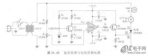 晶体管q,的作周是一个反相放大器,为741运算放大器的反向输入端提供一